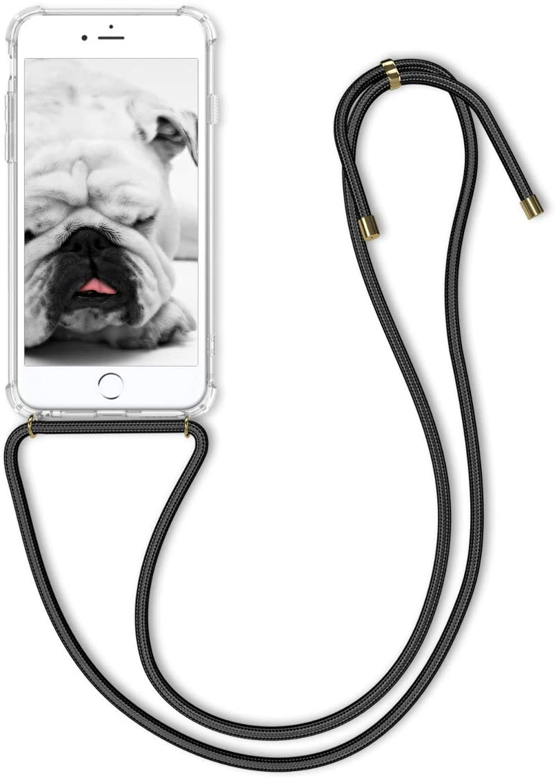 kwmobile Crossbody Case Compatible with Apple iPhone 6 Plus / 6S Plus - Clear Transparent TPU Cell Phone Cover with Neck Cord Lanyard Strap - Transparent/Black