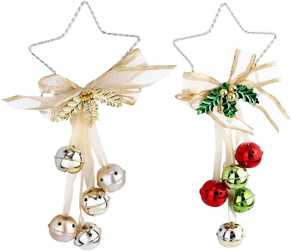 NUOBESTY 2pcs Christmas Bell Pendants Hanging Xmas Tree Decorations Metal Jingle Bell Hangers Wind Chimes Door Knob Ornaments Holiday Decoration