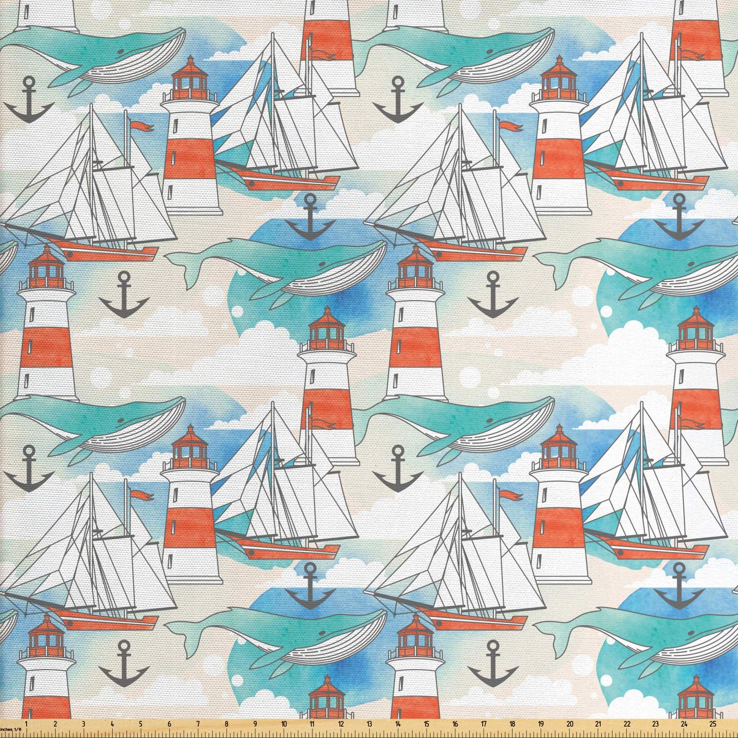 Ambesonne Lighthouse Fabric by The Yard, Abstract Whale Anchor and Boats Pattern Sky Inspired Background Nautical Design, Decorative Fabric for Upholstery and Home Accents, 3 Yards, Seafoam Champagne