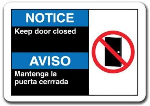 Fsdva Wall Art Sign 12x16 Notice Sign - Notice Keep Door Closed (Bilingual Spanish) Caution Sign Notice Tin Metal Sign