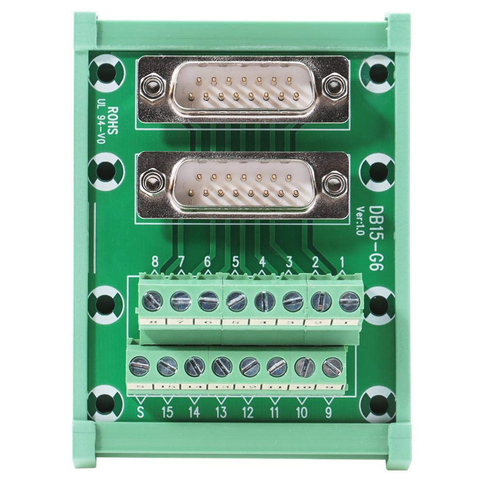 DB15-G6 Double Male Head DIN Rail Mount Interface Distribution Module Terminal Block Board Connector