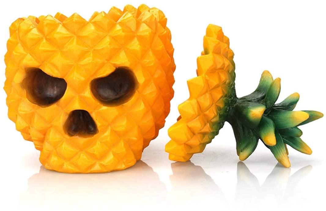 GEPIJPGEKH Creative Resin Pineapple Skull Statue Storage Box Home Desktop Ornaments Office Decor Gift Skull Sculpture Gift