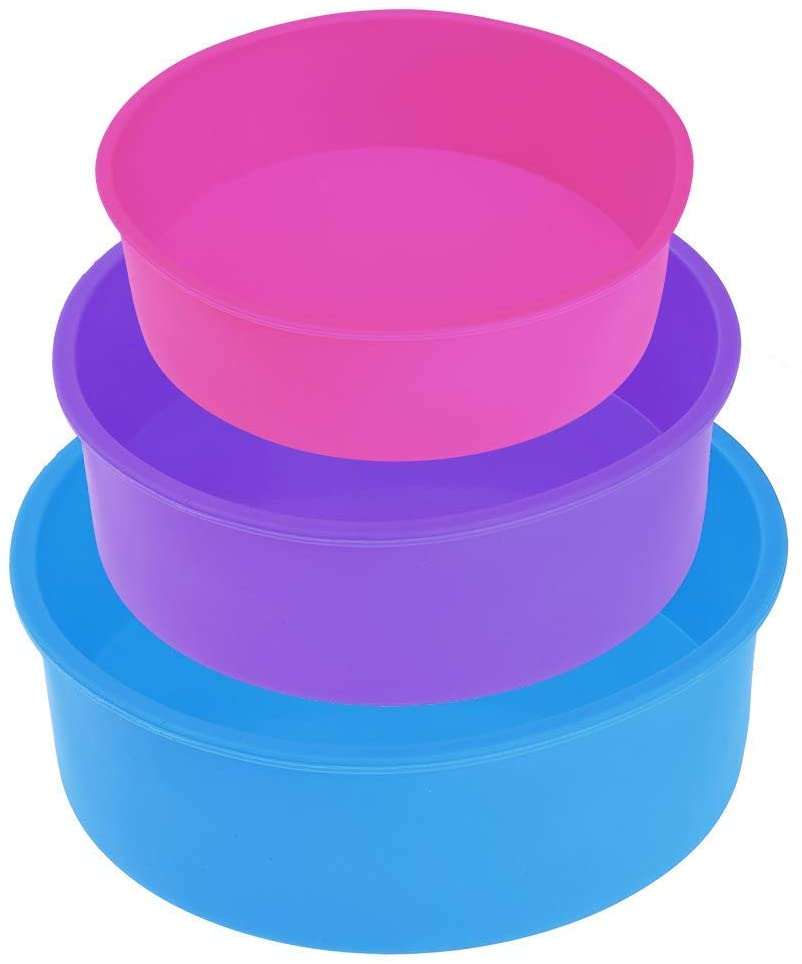 Round Silicone Cake Mold Pan, 3PCS Non-Stick Baking Mold Cake Mould 4'' 6'' 8''(Blue/Purple/Pink)