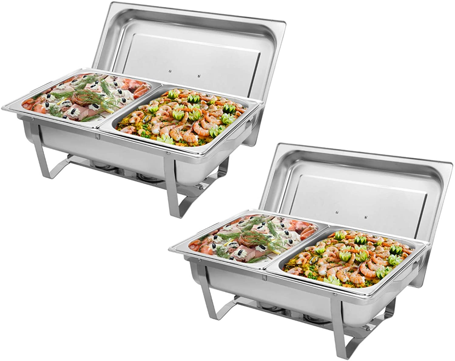9L2 Double Grid Each Set 21/2 Stainless Steel Rectangular Buffet Stove - Full Size Chafer Chafing Dish Buffet Set with Food Pan and Lid For Catering