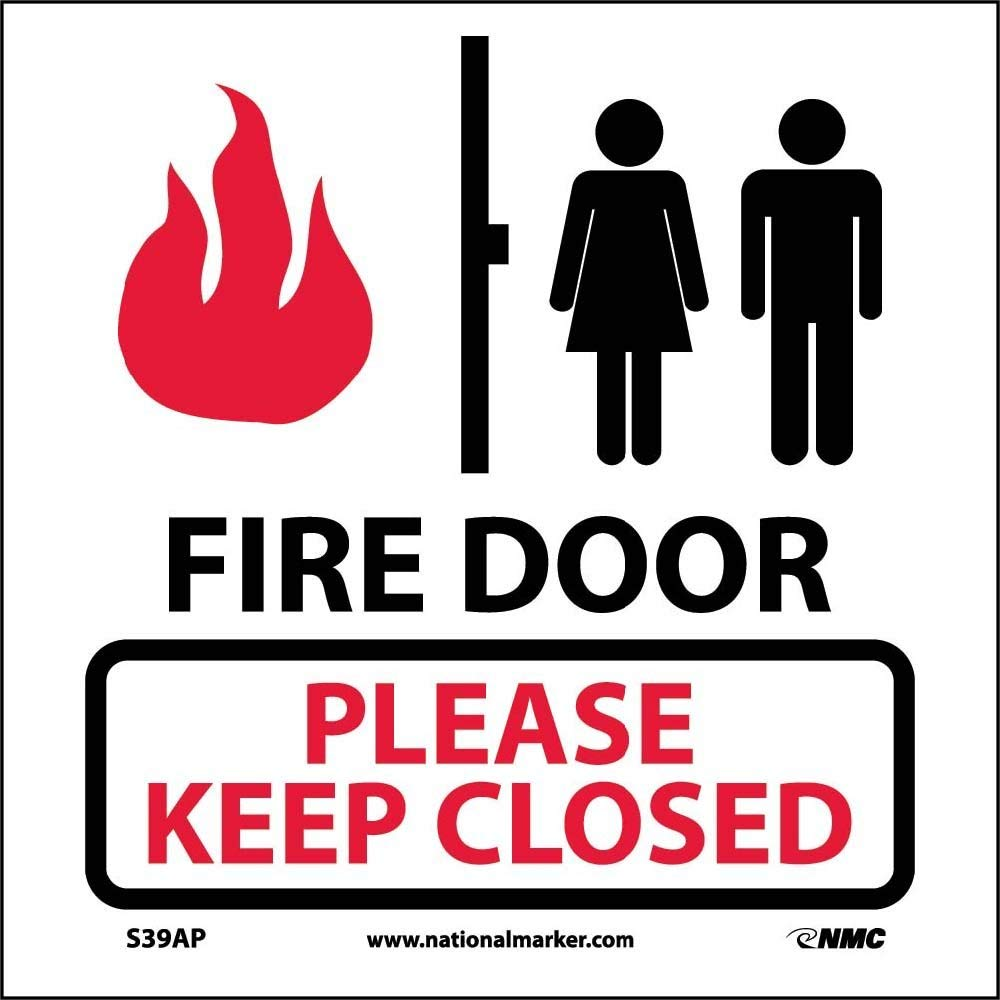 National Marker Corporation Fire Door Please Keep Closed, Graphic 4x4 Pressure Sensitive Vinyl Safety Label, 5 Per Package