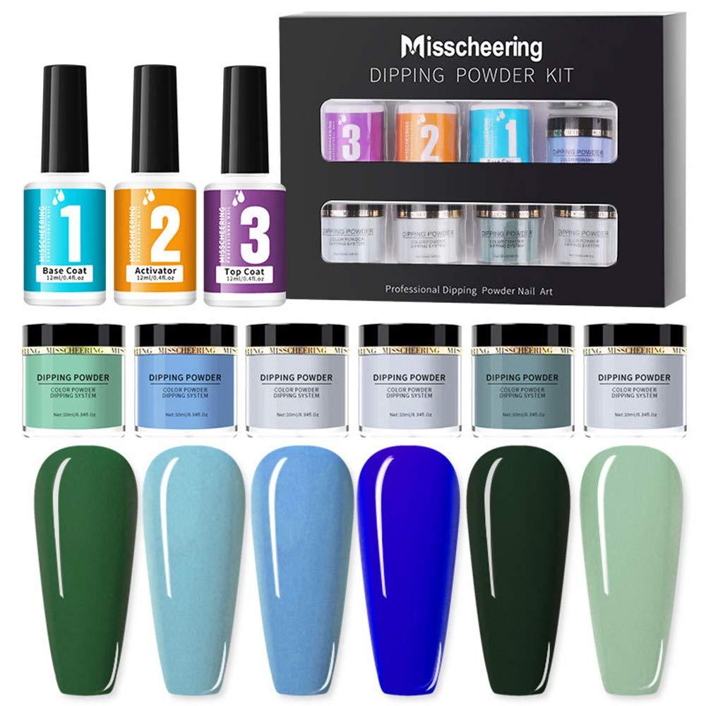 RIGTMAL Dipping Nail Powder Kit Nail Art Glitter Powder Set 6 Colors for French Nail Extension Nail Manicure Set with Base Top Coat Activator No UV/LED Nail Lamp Needed