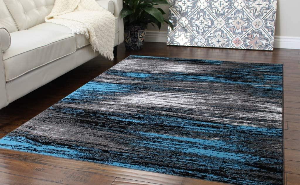 Masada Rugs, Modern Contemporary Area Rug, Blue Grey Black (8 Feet X 10 Feet)