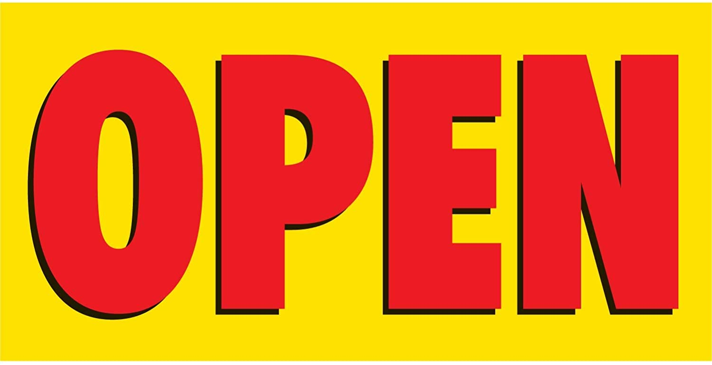 HALF PRICE BANNERS | Open Vinyl Banner -Mesh Wind Resistant 2X4 Foot -Yellow | Includes Zip Ties | Easy Hang Sign-Made in USA