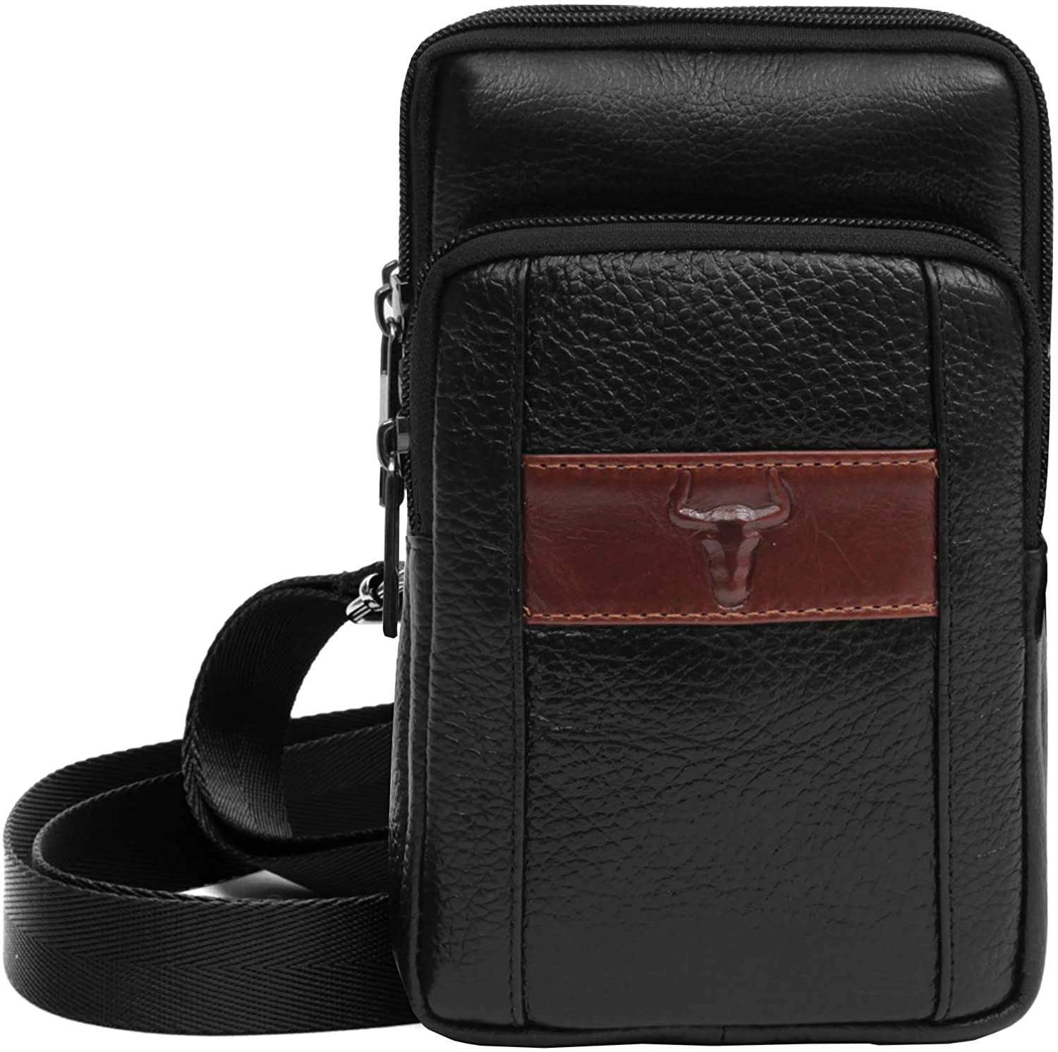 Messenger Bags Tactical Phone Bag Pouch Bum Leather Bag Waist Pack Travel Bags Cases Holsters Saddlebag (Black)