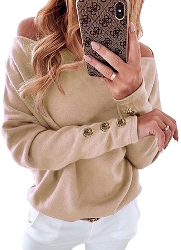 Kulasi Women 's Sexy Slim Fit Off Shoulder Top Long Sleeve Casual Loose Sweatshirt Fashion Tunic Tops
