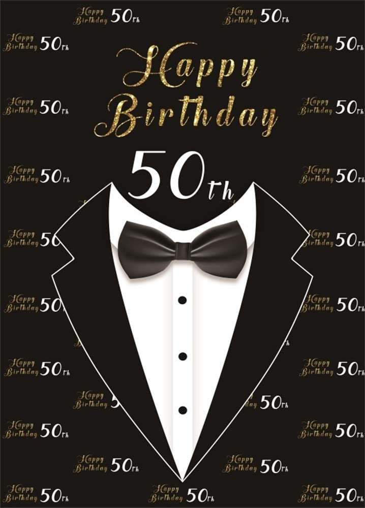 AOFOTO 7x10ft Happy 50th Birthday Backdrop for Men Bow Tie Tuxedo Black Background for Photography Grandfather Father Fifty Bday Bash 50 Year Old Party Cebelration Wallpaper Photo Studio Props Vinyl
