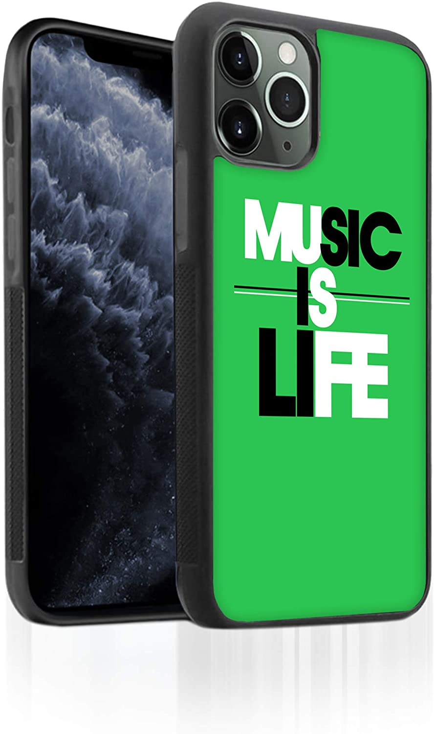 Bufflo Graphics I iPhone 11 Pro Max Phone Case I TPU iPhone 11 Pro Max Case I Protective Tempered Glass Back I Music Quote I Music is Life