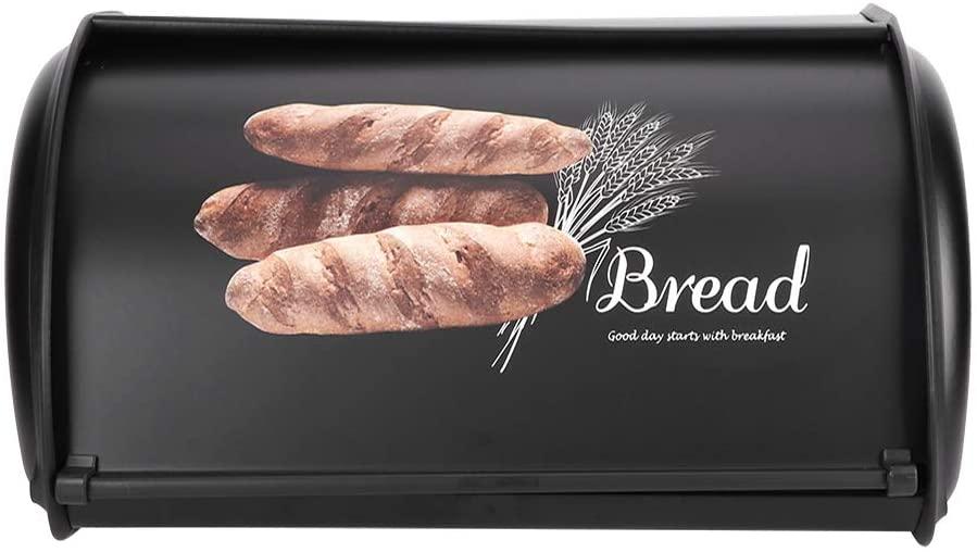 Large Capacity Stainless Steel Bread Box Holder Bin Container Kitchen Storage Organizer Durable Bread Box (Black)