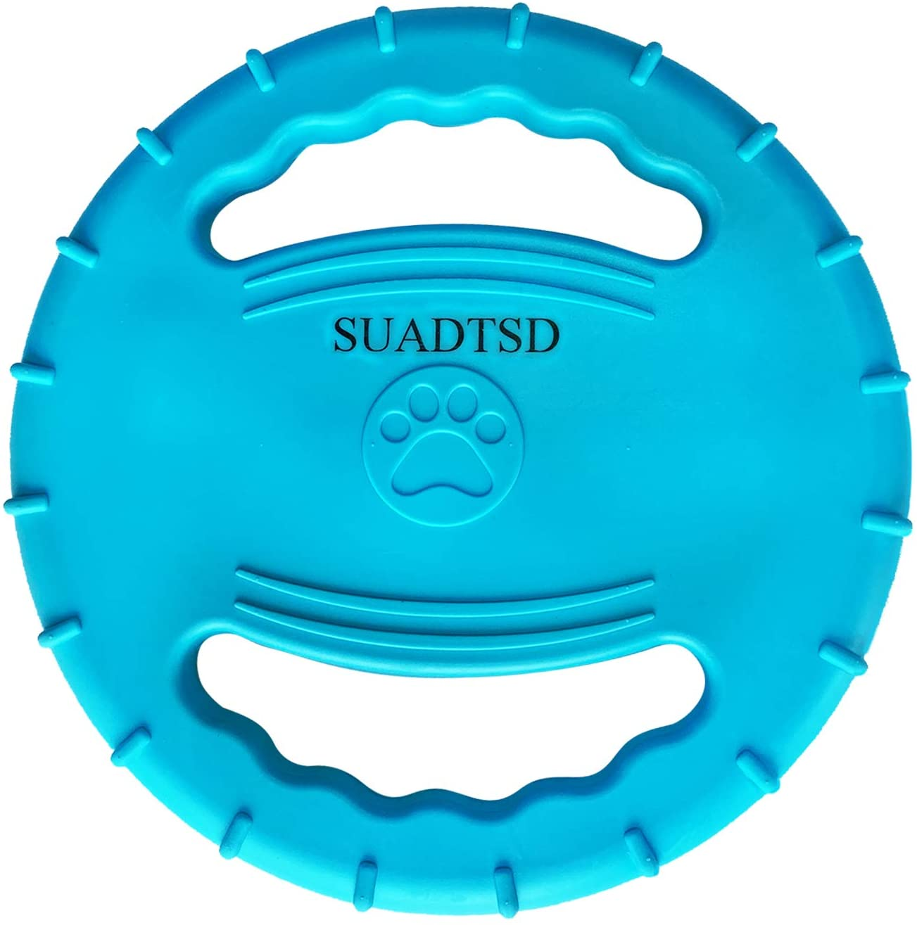 SUADTSD Dog Frisbee Rubber Dog Bite Resistant Outdoor Training Fetch Sound Maker Float Pet Toy,Tough Training Flying Disc Play Toy for Dog,Interactive Dog Toys,Float in Water Safe on Teeth