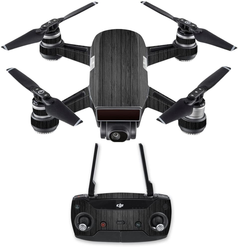 MightySkins Skin Compatible With DJI Spark Drone & Controller - Black Wood | Protective, Durable, and Unique Vinyl Decal wrap cover | Easy To Apply, Remove, and Change Styles | Made in the USA