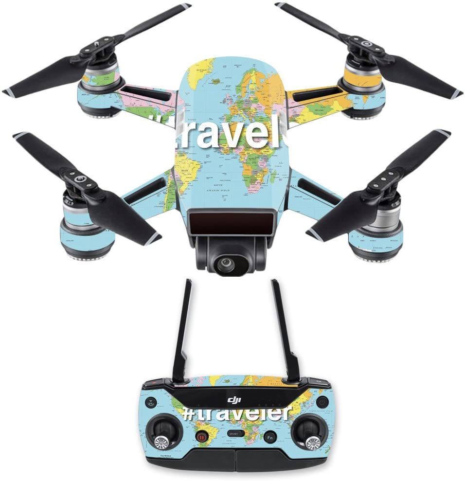 MightySkins Skin Compatible with DJI Spark Mini Drone Combo - Traveler | Protective, Durable, and Unique Vinyl Decal wrap Cover | Easy to Apply, Remove, and Change Styles | Made in The USA