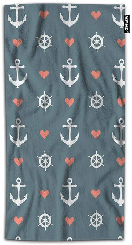 AOYEGO Anchor Hand Towel Nautical Heart Regular Repeat Marine Wheels Ship Ocean Navy Sea Sail Bath Hand Towels Lightweight Decorative 30X15 Inch Soft Polyester-Microfiber for Kitchen
