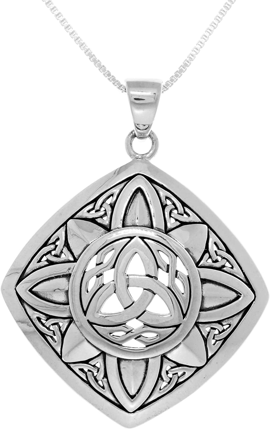 Jewelry Trends Sterling Silver Celtic Trinity Sunburst Pendant on Box Chain Necklace