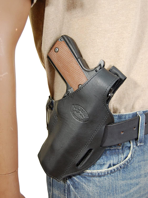 Barsony New Black Leather Concealment Pancake Holster for Full Size 9mm 40 45 Pistols