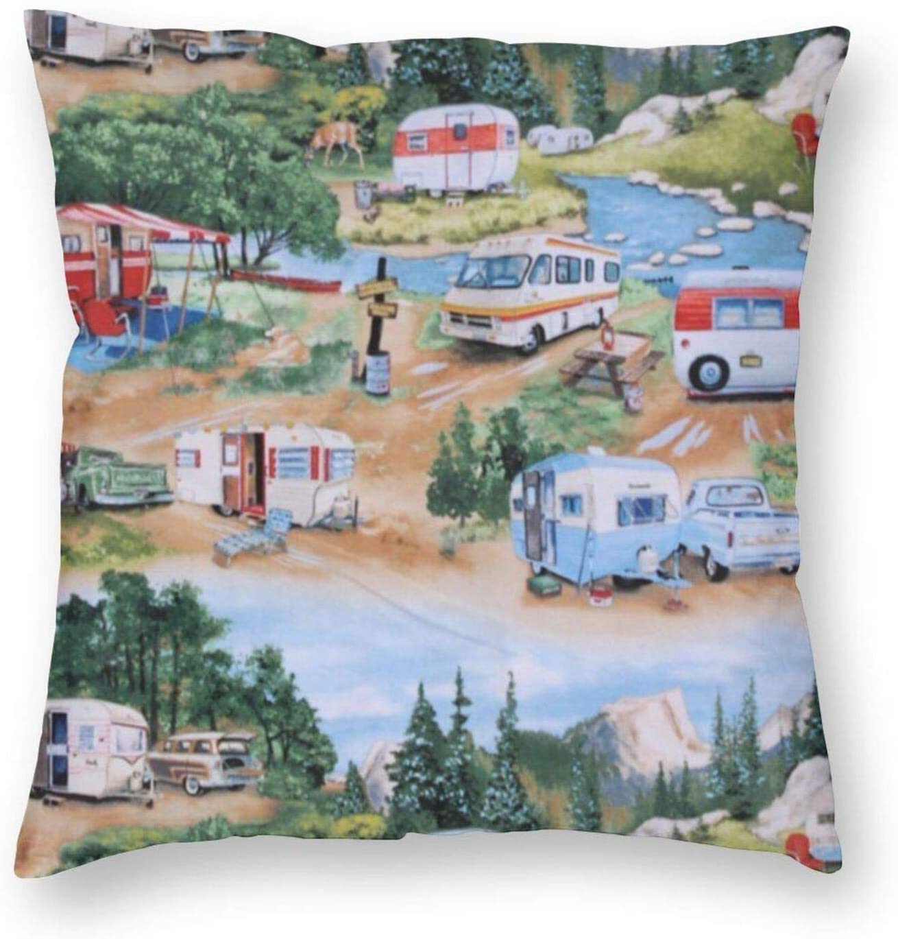 antkondnm Trailers Camping Campers Throw Pillow Covers Sofa Decorative Cushion Cases for Home, Soft Square Pillowcase