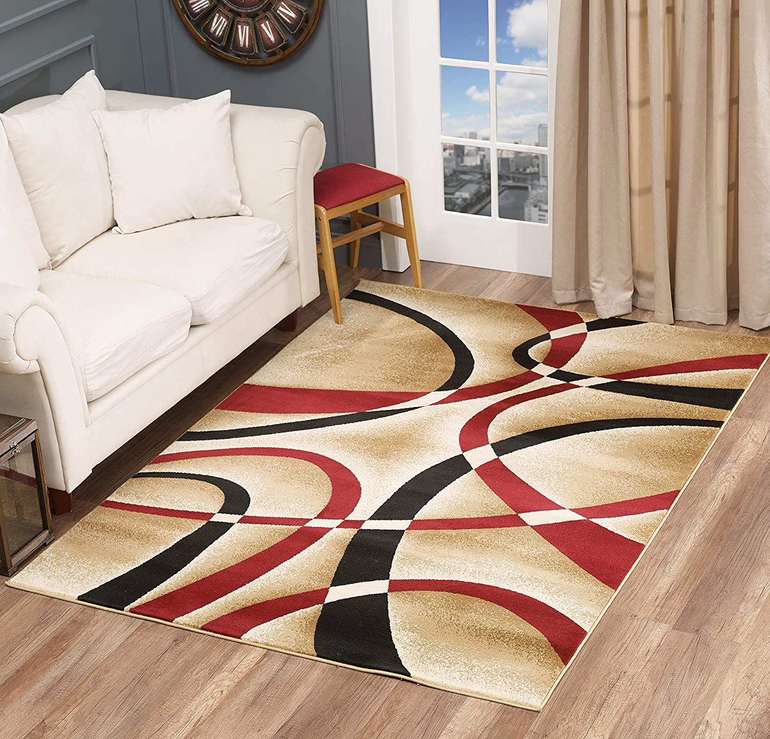 Golden Rugs Modern Area Rug Swirls Carpet Bedroom Living Room Contemporary Dining Accent Sevilla Collection 4816 (8x10, Dark Red)