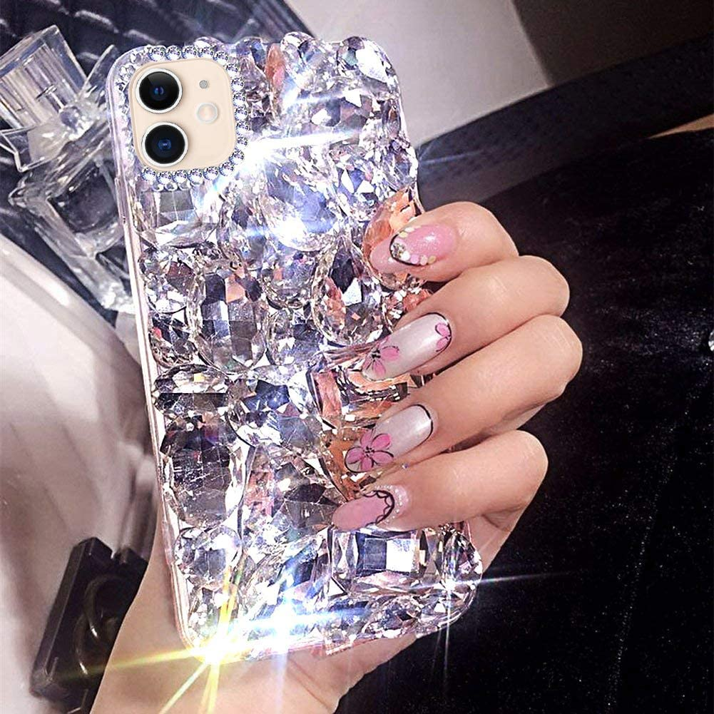 Case for iPhone 11 Cover,iPhone 11 Diamond Case,3D Handmade Bling Rhinestone Diamonds Luxury Sparkle Rhinestones Case Girls Women Full Crystals Bling Diamond Case Cover for iPhone 11,Clear