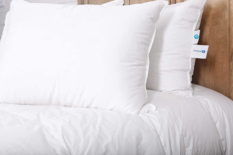 Continental Bedding Premium 100% White Goose Down Medium Firm Pillow. Standard Size [Firm] (Set of 2)