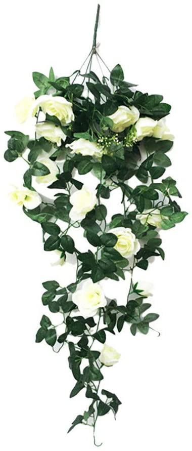 WOSHI Fashion Balcony Wall Hanging Plant Living Room Rose Fake Vine Home Decoration Artifical Flower(White)