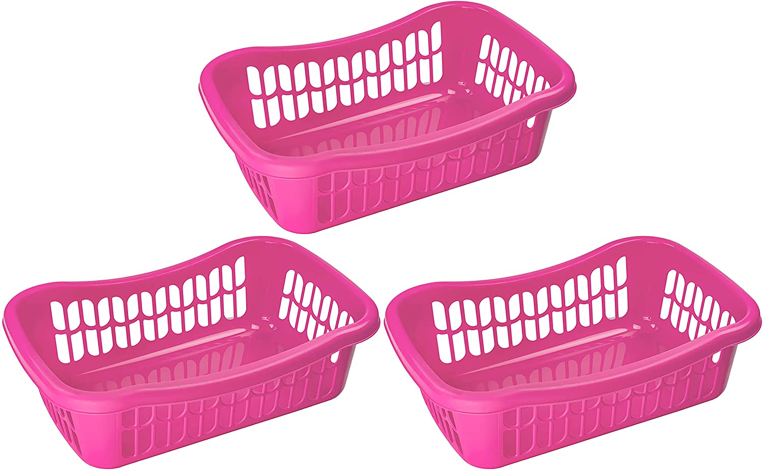 YBM HOME Large Plastic Storage Basket for Organizing Kitchen Pantry, Countertop, Bathroom, Kids Room, Office Drawer, Junk Drawers, and Shelves (Pink)