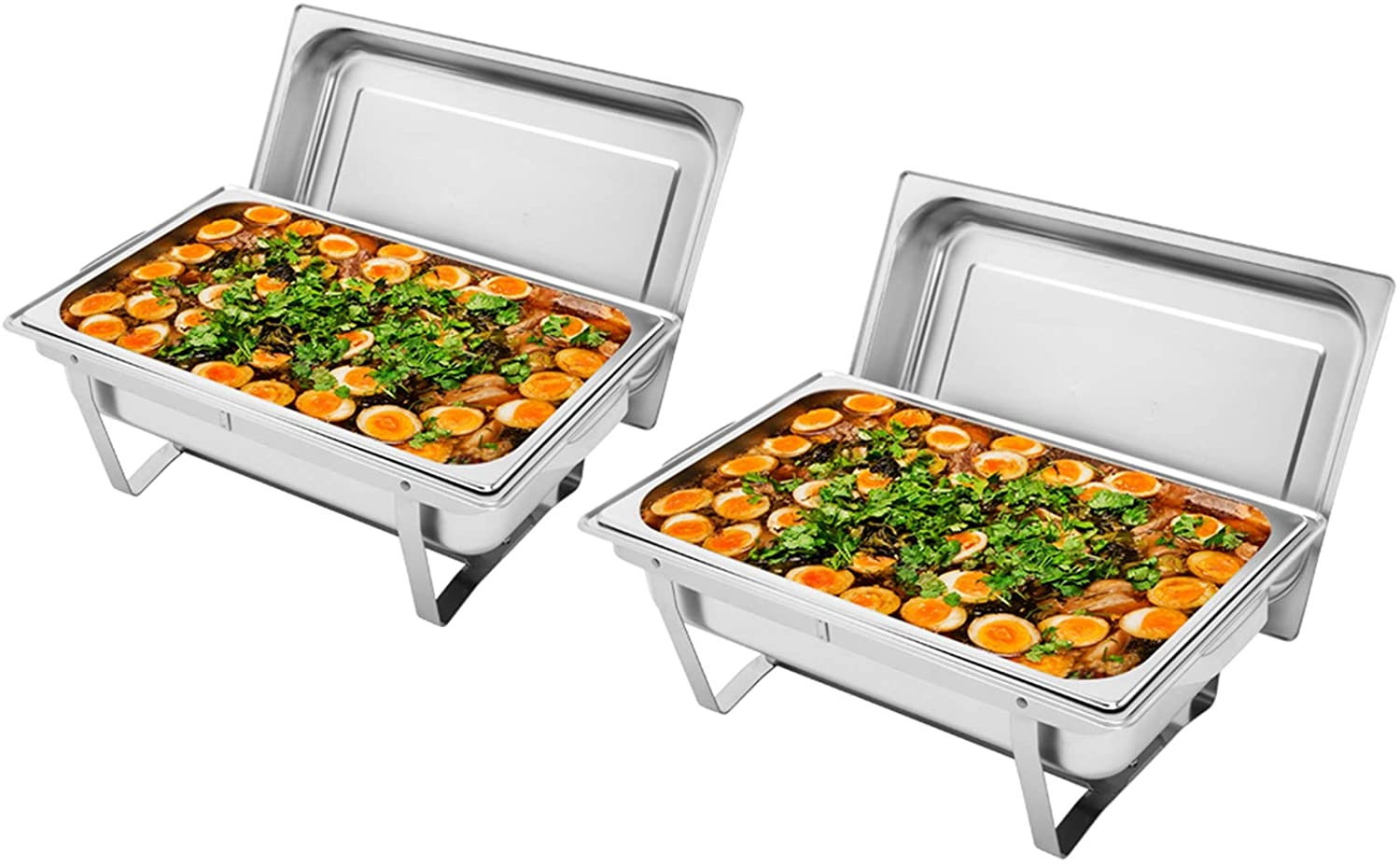 9L-12 Single Pot Two Set Stainless Steel Rectangular Buffet Stove Food Buffets Food Warmer for Parties, Chafing Dish