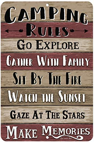 Dyenamic Art Camping Rules Burgundy Sign Metal Camping Sign 8