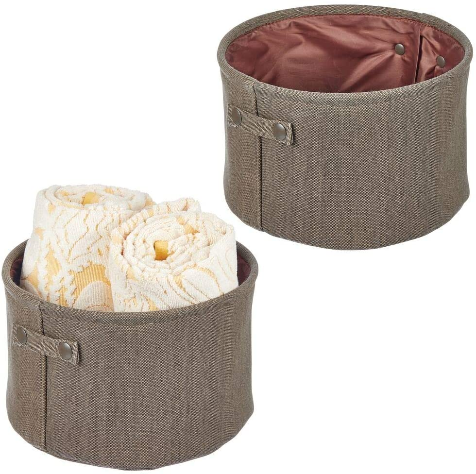 mDesign Soft Cotton Fabric Bathroom Storage Bin with Coated Interior and Handles - Organizer for Towels, Toilet Paper Rolls - for Closets, Cabinets, Shelves - Textured Weave; 2 Pack - Espresso Brown