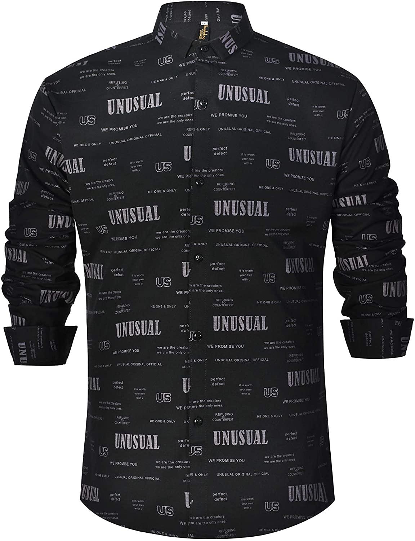 Kaiyilaibao Mens Printed Shirt Long Sleeve Slim Fit Button Front Shirts Casual Blouse
