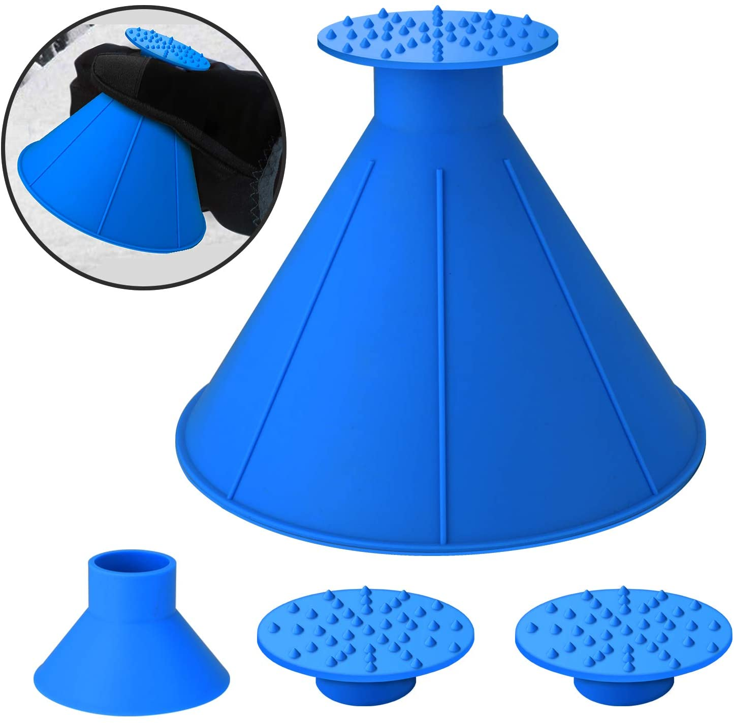 SEVENS Ice Scraper Round Car Window Windshield Cone -Shaped 6.8″Larger Coverage Diameter Snow Ice Scraper Funnel Removal Tool with 3 Ice Breakers(Blue)