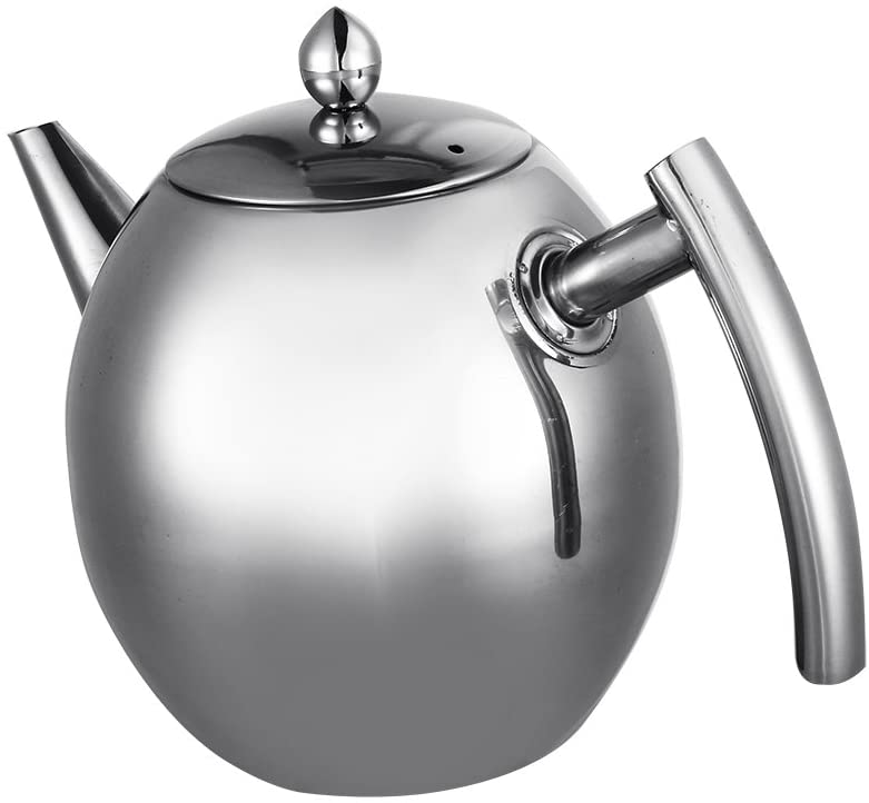 Stainless steel teapot, Brewing Tea Kettle Teapot Stovetops Teapot Container Large Capacity Coffee Pot with Compartment Filter(1.5L)