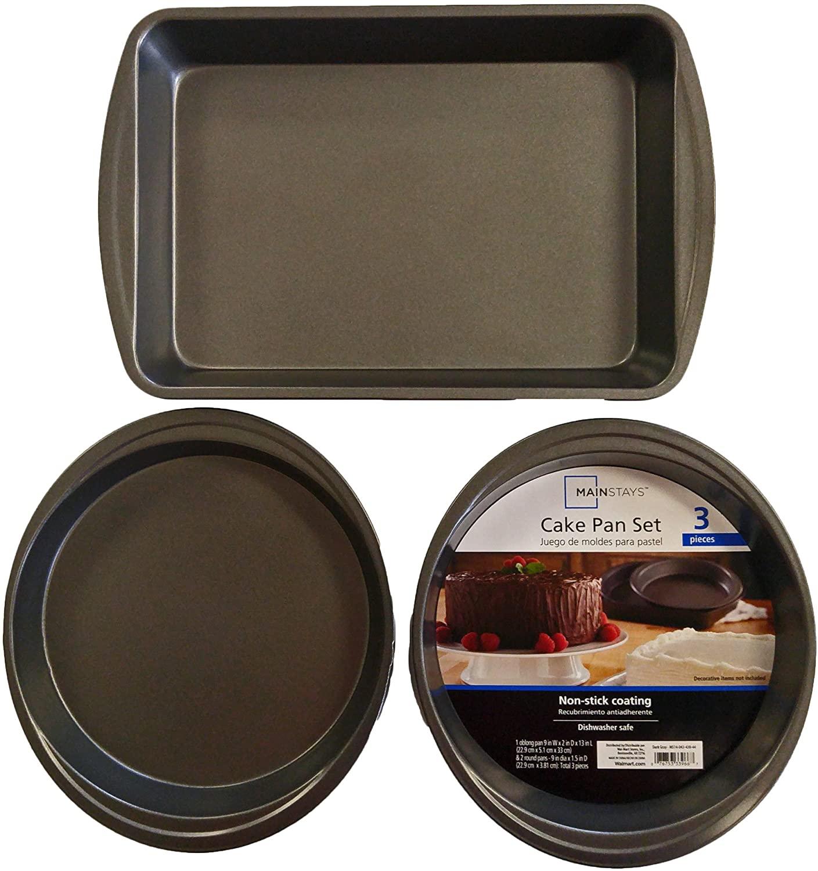 Set of 3 Mainstays Non-Stick Cake Pan Set Rectangular 13