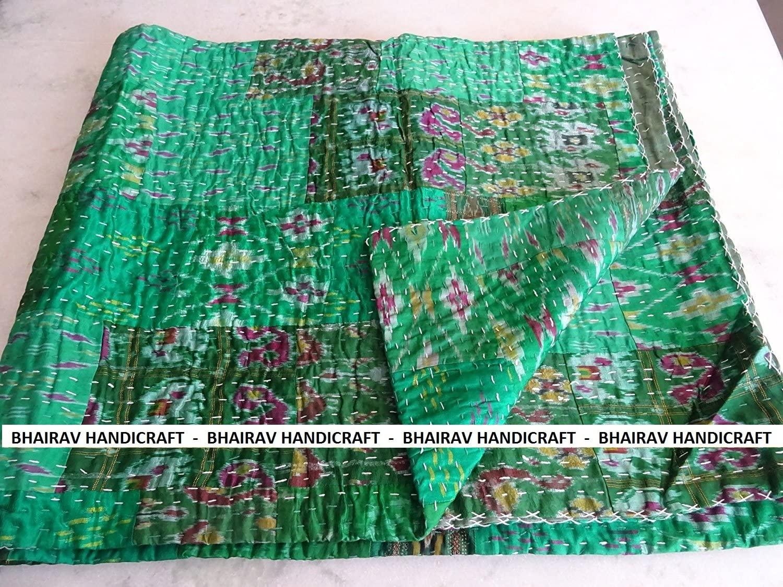 BHAIRAV HANDICRAFT Present King Size Green Patola Silk Patch Work Kantha Quilt,Kantha Blanket Bedspread,Patch Kantha Throw,King Kantha,Rallies Indian Sari Quilt,Size 90