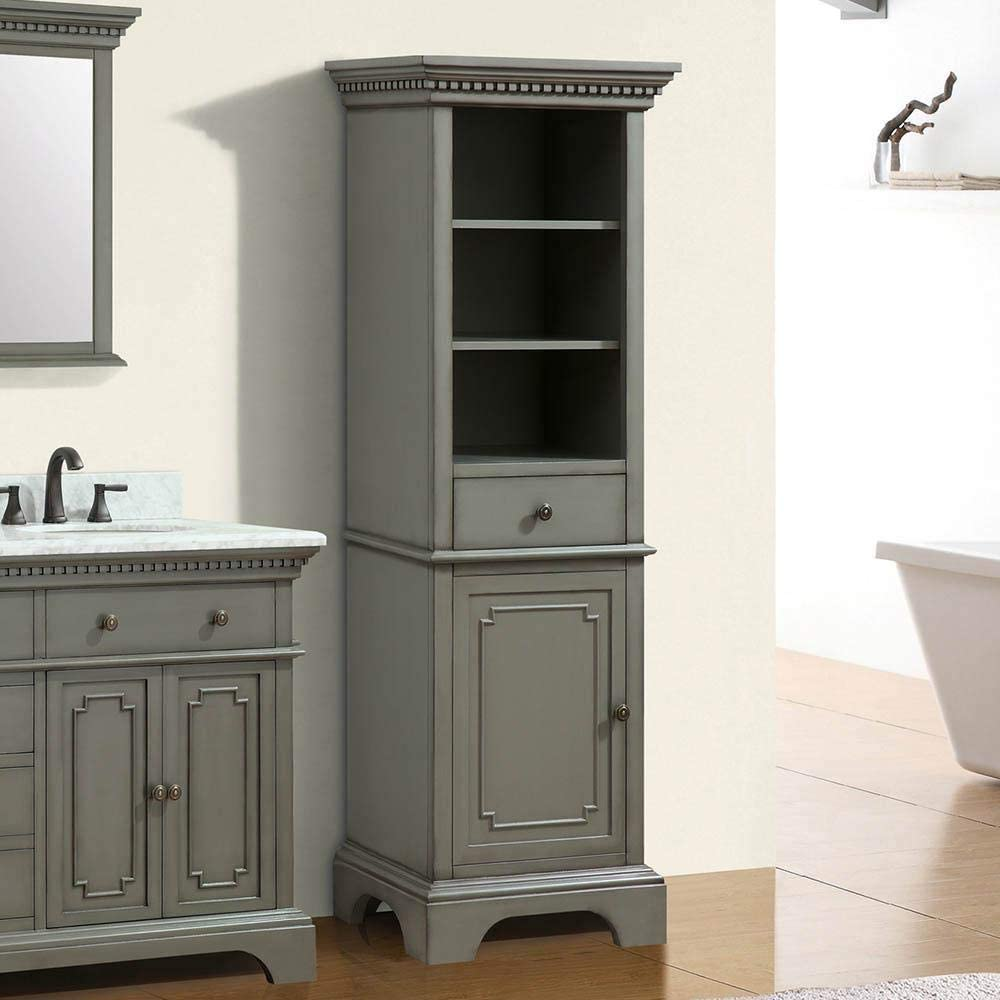 Magnus Home Products Kamela Bathroom Linen Storage Cabinet, French Gray, 22