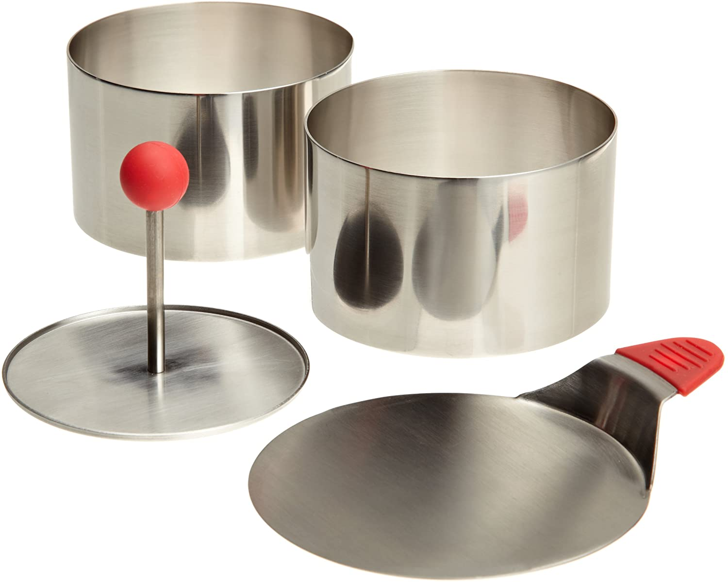 Ateco Round Food Molding Set, 3.5 by 2.1-Inches High, 4-Piece Set Includes 2 Rings, Fitted Press & Transfer Plate