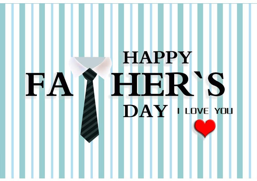 Leyiyi 5x4ft Happy Father's Day Photography Background I Love You Blue and White Vertical Striped Photo Studio Props Backdrop