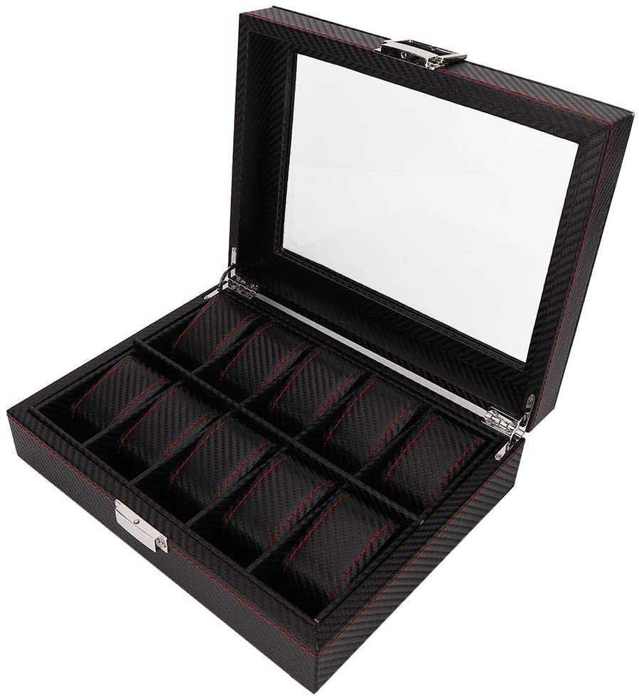 Nannday Watch Display Storage, 10 Grids Portable Travel Box Collector Case Organizer for Rings Earring Home