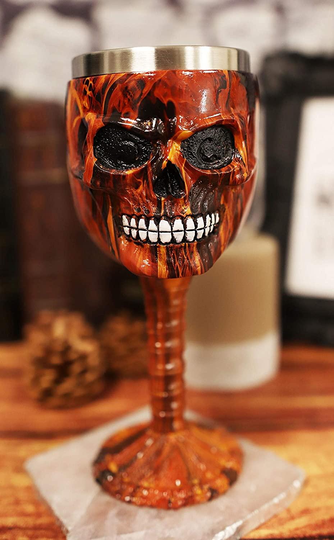 Ebros El Diablo Inferno Hell Fire Skull Face Beverage Drinkware Serveware Ossuary Macabre Halloween Decorative Accent (Wine Goblet Chalice)