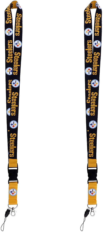 2 Pack Lanyard ID Badge Holder Phone Wallet Whistle Camera Sport Keychain Lanyards for Men Women Kids (Yellow)