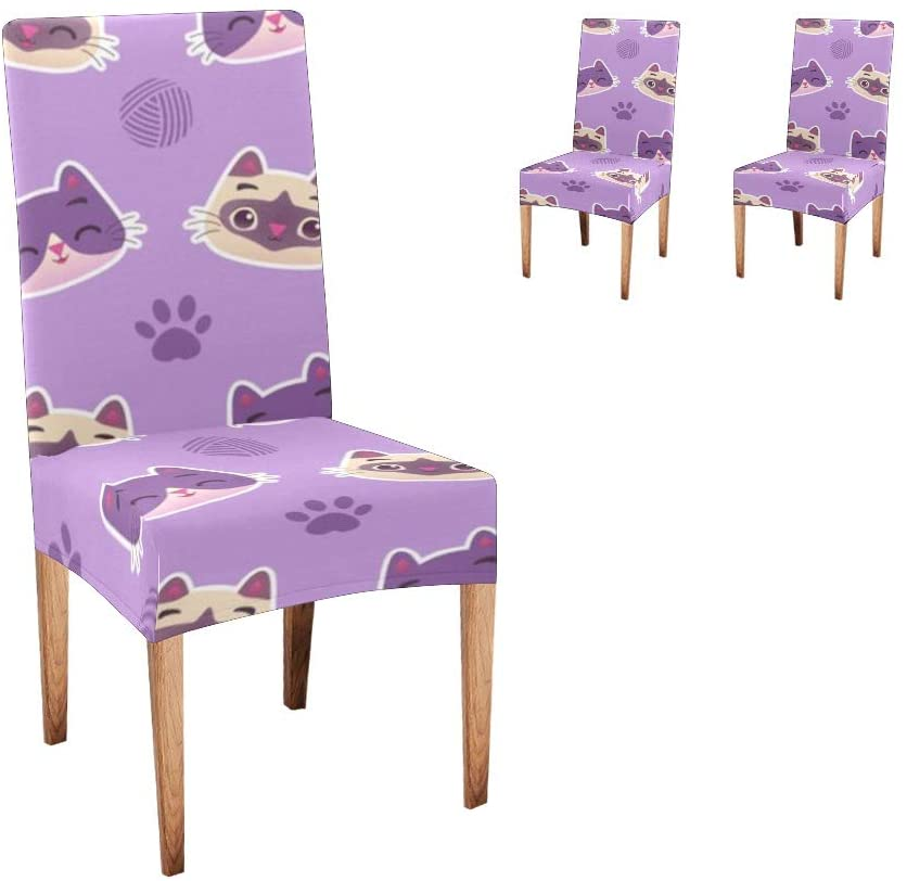 CUXWEOT Chair Covers for Dining Room,Custom Cat Footprint Protector Comfort Soft Seat Covers Slipcovers for Party Decor (Set of 2)