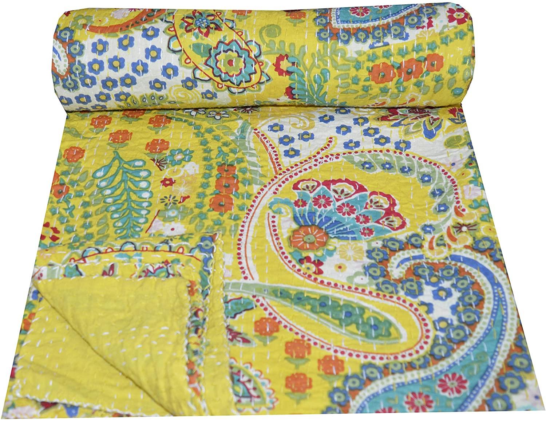 Somukara Kantha Quilt Floral Print Twin Size Kantha Quilt, Kantha Blanket,Bedding Kantha Size 90 Inch x 60 Inch