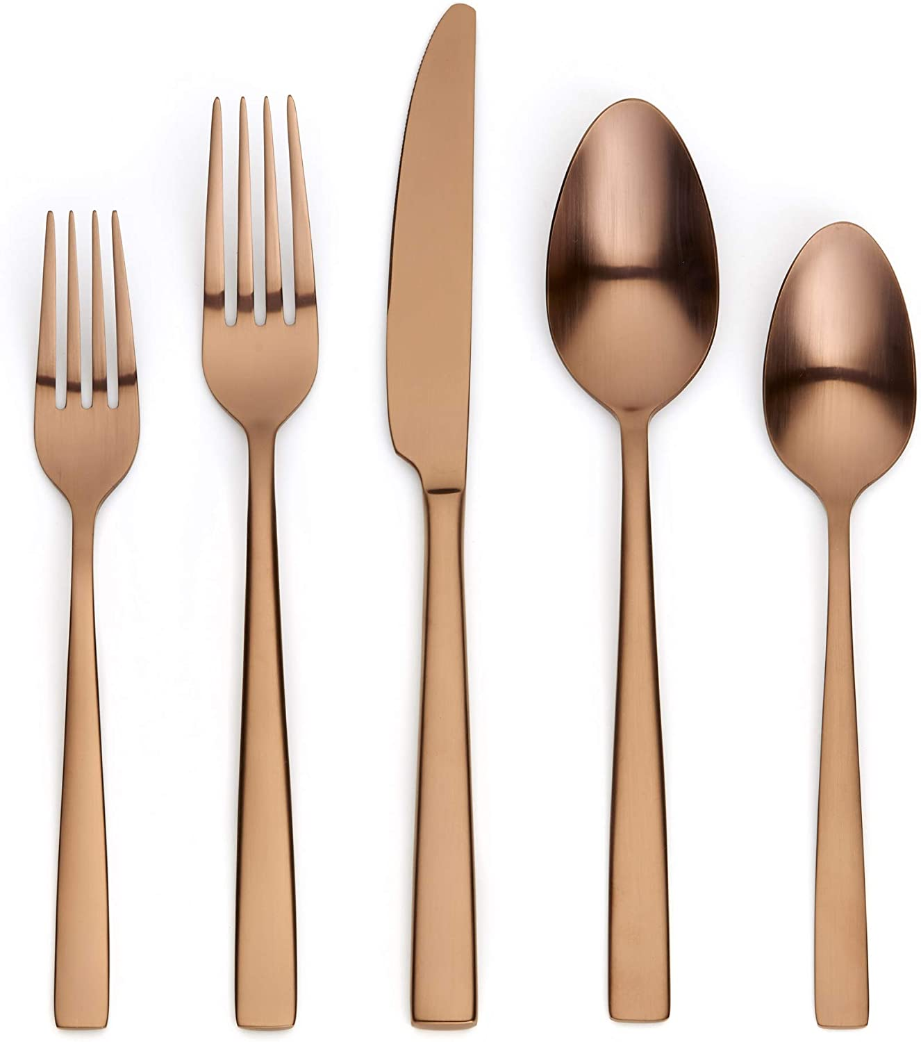 Ornative Kathryn 20-Piece Stainless Steel Flatware Set| Silverware Set for 4| Copper | Includes Forks, Knives, and Spoons |Dishwasher Safe |Durable and Easy Care| Best Silverware