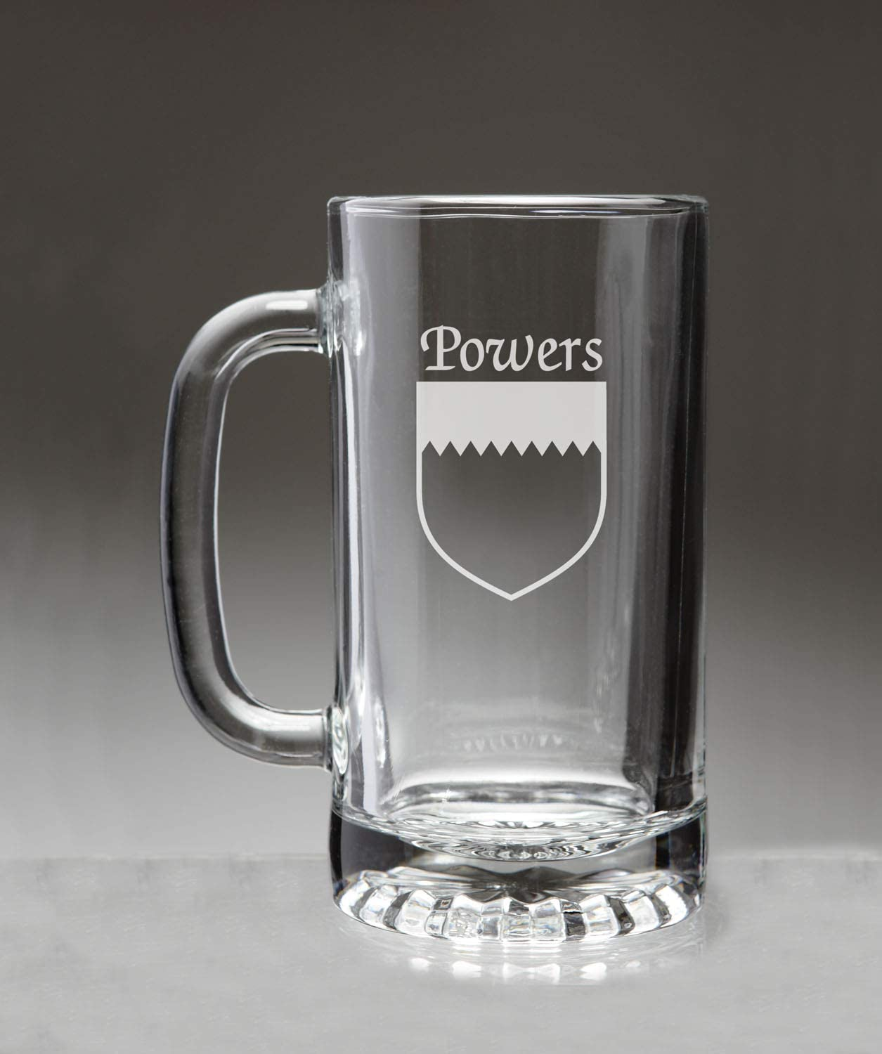 Powers Irish Coat of Arms Glass Beer Mug (Sand Etched)
