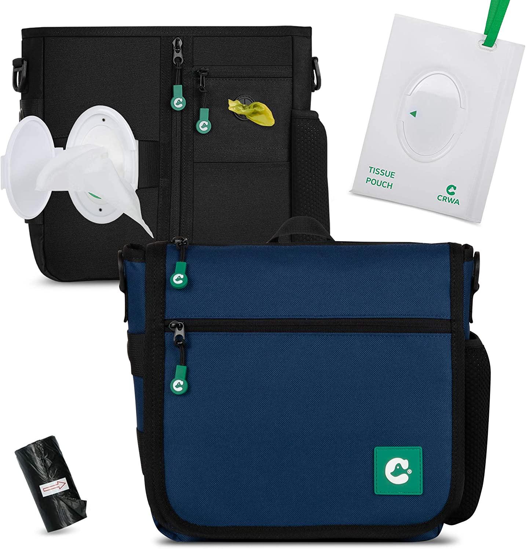 QUALPACK CRWA Dog Treat Bag | Dog Training Bag with Waist Shoulder Strap, Easy to use Wet Wipes, Poop Bag Dispenser