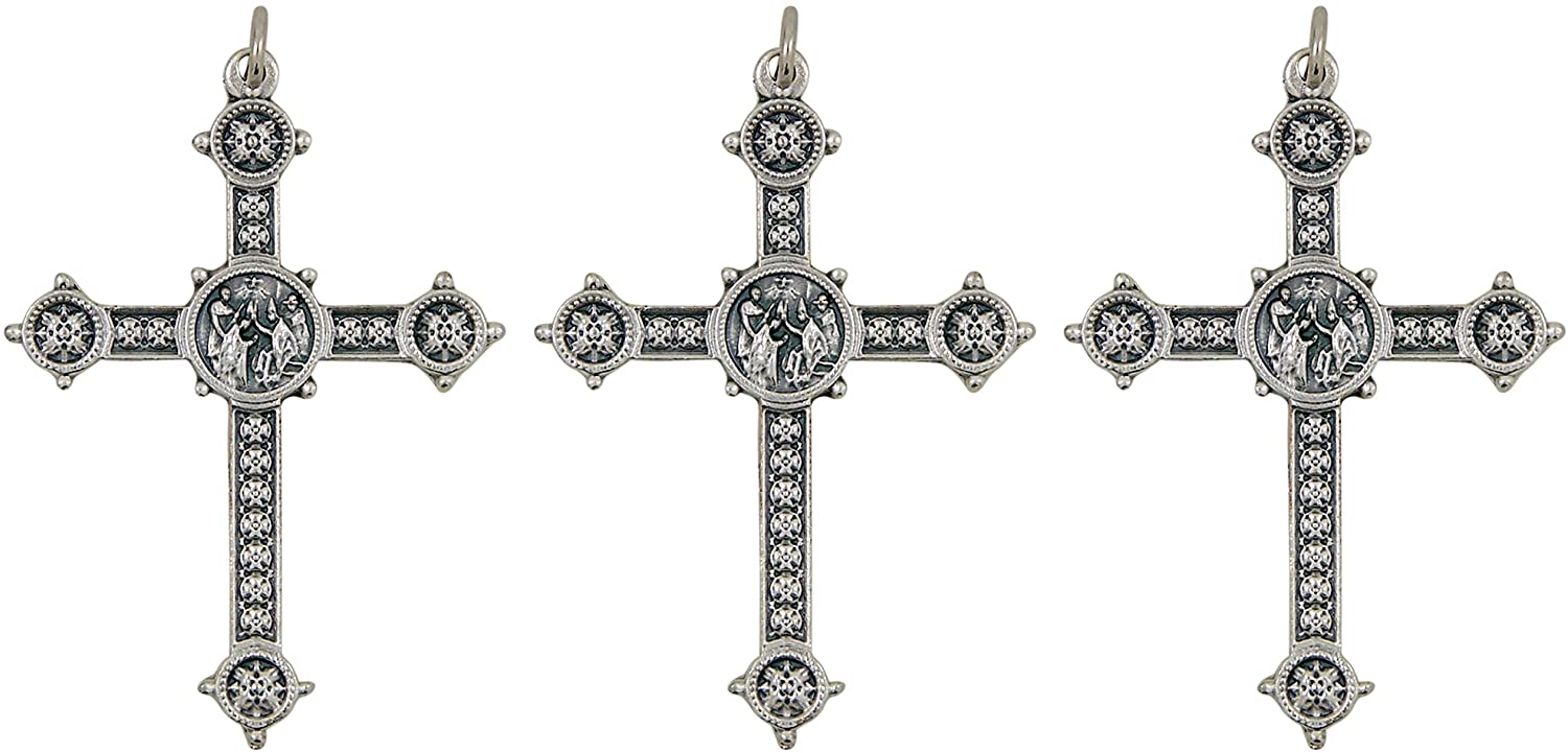 Needzo Religious Silver-Tone Papal Blessing Cross Pendant, 2 Inch, Pack of 3