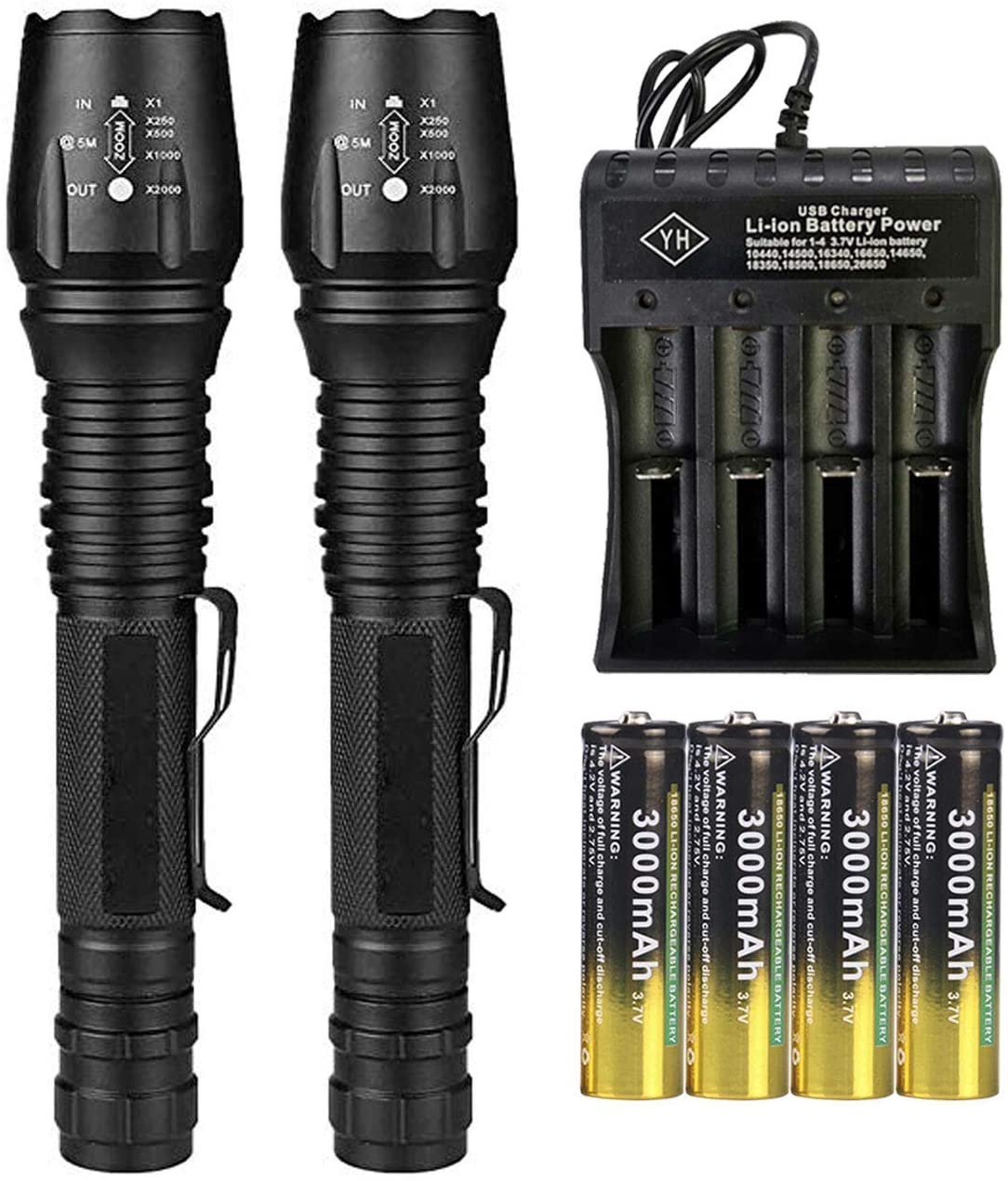 2 Set18650 Tactical Flashlight 5 Modes High 2000 Lumens Rechargeable Zoomable LED Flashlights with 4 Pack 3000mAh 3.7v li-ion rechargeable battery and 4 Slots USB Charger for Camping Fishing Hiking